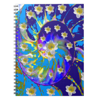 GARDEN  SPIRAL &  DAFFODILS IN BLUES NOTEBOOKS