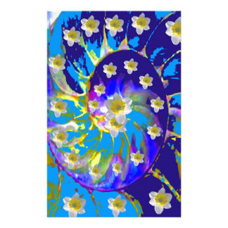 GARDEN  SPIRAL &  DAFFODILS IN BLUES STATIONERY