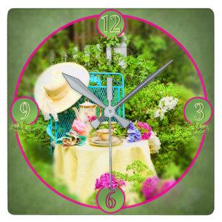 Garden Square Clock - Tea in the Garden