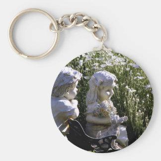 Garden Statues Basic Round Button Keychain