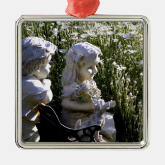 Garden Statues Silver-Colored Square Ornament