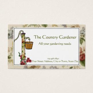 Garden Store with Hand Pump, Oak Bucket, & Flowers Business Card