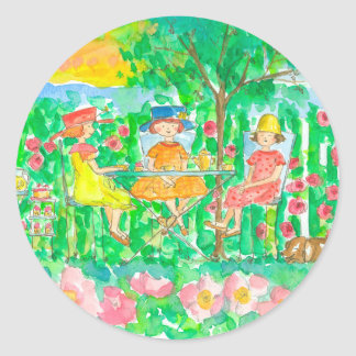 Garden Tea Party Girls Watercolor Flowers Classic Round Sticker