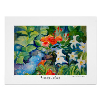 Garden Trilogy with Roses, Lilies and Hydrangeas Poster