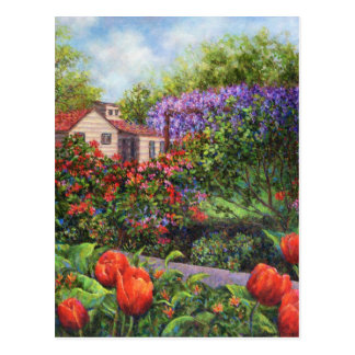 Garden Tulips Wisteria Postcard