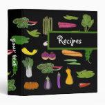 Garden Vegetables Custom Vegetarian Vegan Recipes 3 Ring Binder