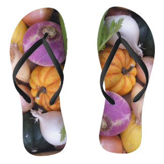 Garden vegetables flip flops