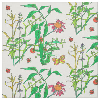 Garden Vegetables Jalapeno Peppers Ladybug Fabric