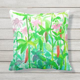 Garden Vegetables Serrano Basil Watercolor Outdoor Pillow