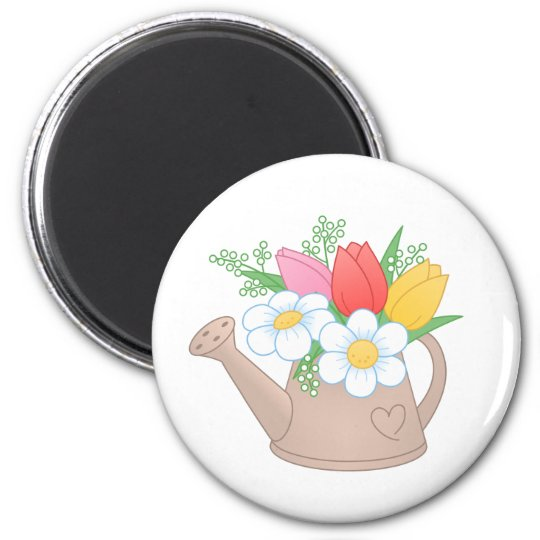 Garden Watering Can with Flowers 2 Inch Round Magnet