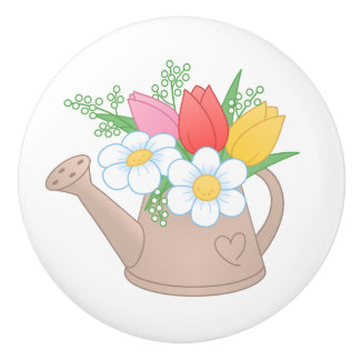 Garden Watering Can with Flowers Ceramic Knob