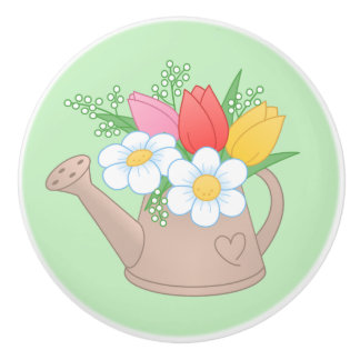 Garden Watering Can with Flowers on Green Ceramic Knob