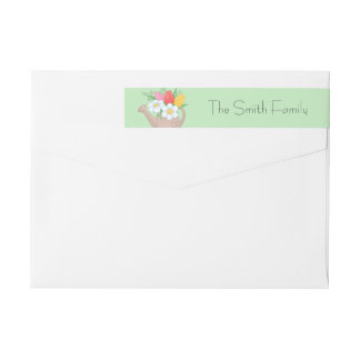 Garden Watering Can with Flowers on Green Wraparound Return Address Label