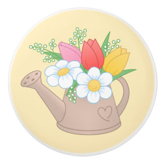 Garden Watering Can with Flowers on Yellow Ceramic Knob