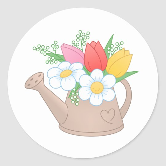 Garden Watering Can with Flowers Round Sticker