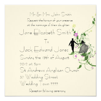 Garden Wedding Bride and Groom Custom Invitations