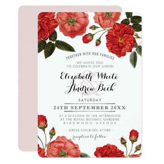 GARDEN WEDDING INVITE chic red roses floral flower