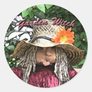 Garden witch round stickers
