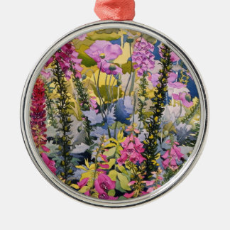 Garden with Foxgloves Silver-Colored Round Ornament