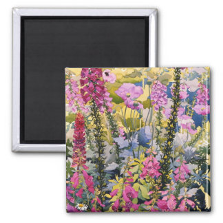 Garden with Foxgloves Square Magnet