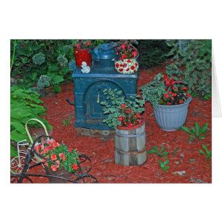 """Garden with Iron Stove"" Card"
