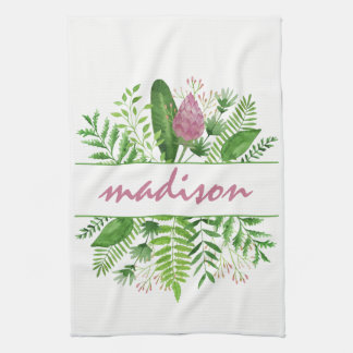 Garden Woods Botanical Typography Kitchen Towel
