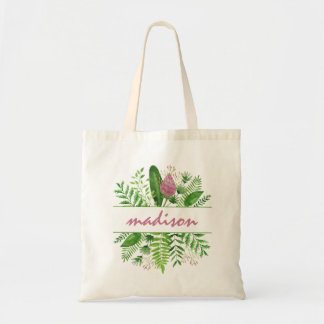 Garden Woods Botanical Typography Tote Bag