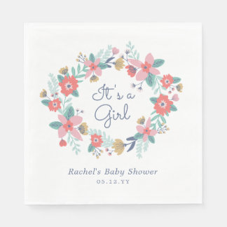 Garden Wreath Baby Shower Disposable Napkin