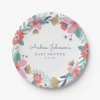 Garden Wreath Baby Shower Paper Plate