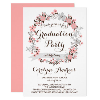 Garden Wreath | Pink and Gray Floral Graduation Card