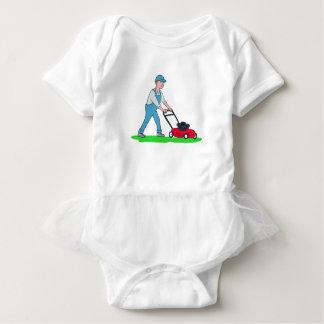 Gardener Mowing Lawn Cartoon Baby Bodysuit
