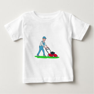 Gardener Mowing Lawn Cartoon Baby T-Shirt
