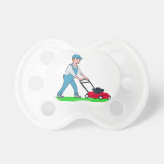Gardener Mowing Lawn Cartoon Pacifier