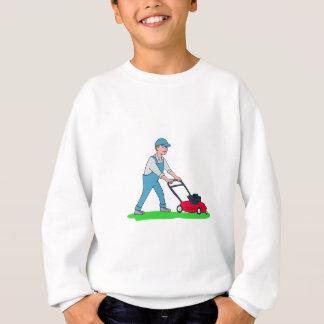 Gardener Mowing Lawn Cartoon Sweatshirt