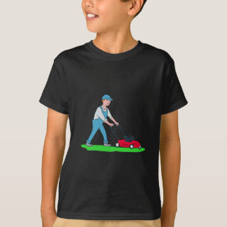 Gardener Mowing Lawn Cartoon T-Shirt