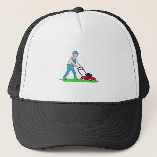 Gardener Mowing Lawn Cartoon Trucker Hat