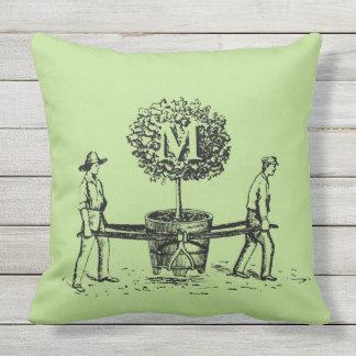 Gardeners and tree Monogram Outdoor Pillow 1