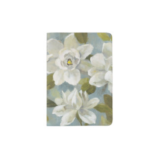Gardenias on Slate Blue Passport Holder