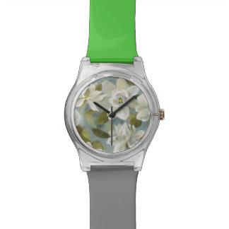 Gardenias on Slate Blue Wristwatch