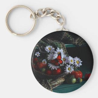 Gardening Bench Basic Round Button Keychain