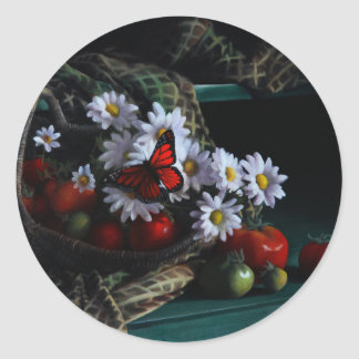 Gardening Bench Round Sticker