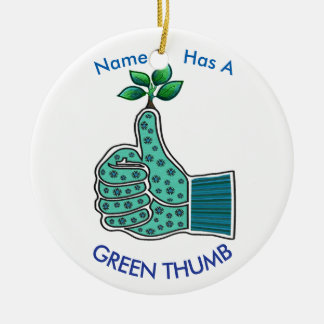 Gardening Glove with Green Thumb Ceramic Ornament