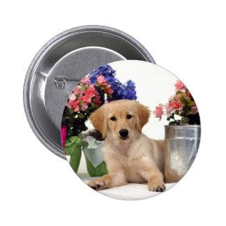 Gardening Golden Retriever Puppy 2 Inch Round Button