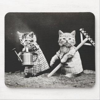 Gardening Kitties | Kitty with Rake Mouse Pad