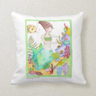 Gardening Mermaid art pillow by Marley Ungaro