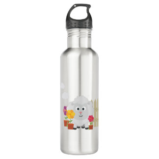 Gardening Sheep with flowers Z67e8 710 Ml Water Bottle