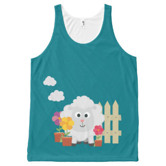 Gardening Sheep with flowers Z67e8 All-Over-Print Tank Top
