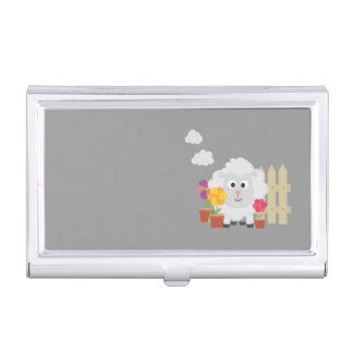 Gardening Sheep with flowers Z67e8 Business Card Holder
