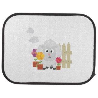 Gardening Sheep with flowers Z67e8 Car Mat