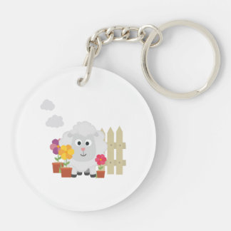 Gardening Sheep with flowers Z67e8 Double-Sided Round Acrylic Keychain